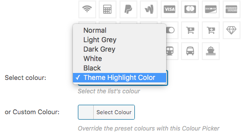 list icon colour